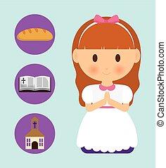 grafikus, biblia, karikatúra, vektor, templom, icon., bread, leány, kölyök