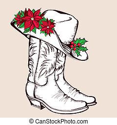 grafikus, cowboy, ábra, csizma, hat.vector, karácsony