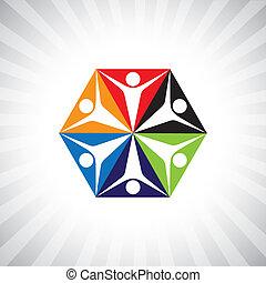grafikus, egyszerű, dolgozók, elvont, gyerekek, vektor, vagy, circle-