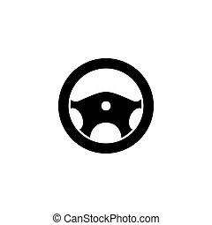 grafikus, gördít, kormányzó, autó, ábra, vektor, ikon