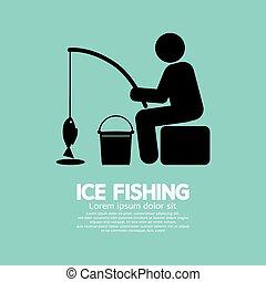 grafikus, halászat, jég, jelkép.