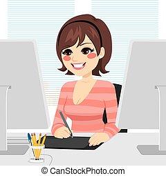 grafikus, nő, tervező