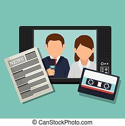 grafikus, riporter, tv, dolgozat, kazetta, hír