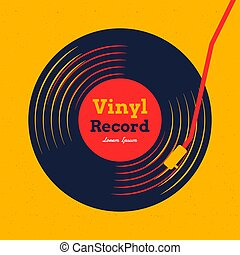 grafikus, sárga, hanglemez, vektor, zene, vinyl, háttér