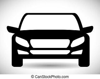 grafikus, szállítás, autó, vektor, fekete, icon., design.