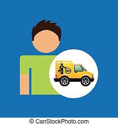 grafikus, szolgáltatás, autószerelő, ember, ikon