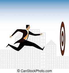 grafikus, végrehajtó, -, vagy, vektor, üzletember, fárasztó, céltábla, elér