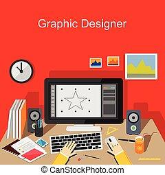 grafikus, working., tervező