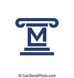 grafisch, aanvankelijk, wet, symbool, zuil, m, lettermark