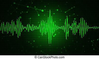 grafisch, abstract, spectrum, golfvorm, audio, display