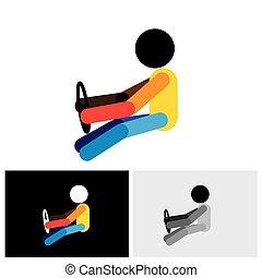 grafisch, auto, symbool, -, bestuurder, vector, auto, voertuig, logo, of, pictogram