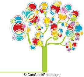 grafisch, boompje, kleurrijke