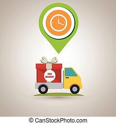 grafisch, cadeau, knoop, vector, vrachtwagen, pictogram, design.