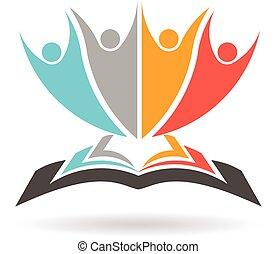 grafisch, campagne, mensen, lezen, studeren, illustratie, opleiding, vector, logo., boek, literature.