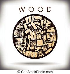 grafisch, cirkel, hout