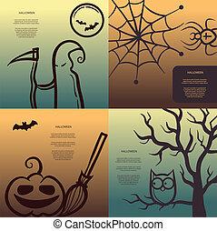 grafisch, communie, halloween, illustratie, retro, affiches