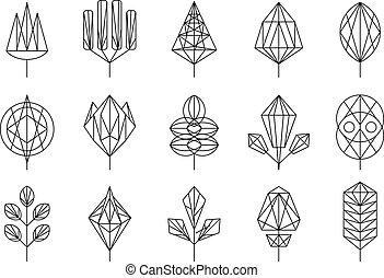 grafisch, communie, natuur, set, grote verlofen, illustratie, geometrisch, vector, ontwerp, bomen, tekens & borden, verzameling