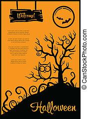 grafisch, communie, poster, halloween, illustratie, retro