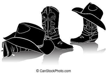 grafisch, cowboy, beeld, laarzen, hats.black, westelijk, backg, witte