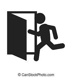 grafisch, deur, crisis voorteken, vector, afslaf, pictogram