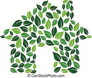 grafisch, eco, woning, vector, ontwerp, groene, logo.
