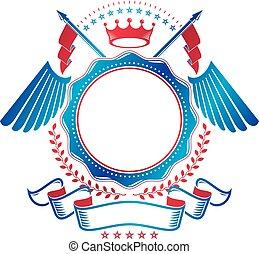 grafisch, embleem, kroon, ouderwetse , heraldisch, imperiaal, elegant, armen, vector, lint, jas, gemaakt, logo., flags.