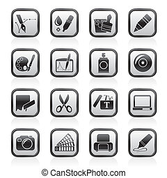 grafisch, en, web ontwerp, iconen
