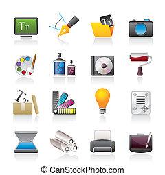 grafisch, en, website, ontwerp, iconen