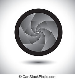 grafisch, &, fototoestel, abstract, bevat, -, spiraal, slr, sluiter, achtergrond., vector, black , oneindig, concentrisch, bladen, witte , opening, opening