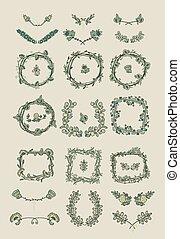 grafisch, groot, vastgesteld ontwerp, floral onderdelen