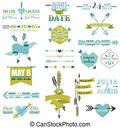grafisch, hart, set, veertjes, etiketten, -, vector, pijl, trouwfeest, linten