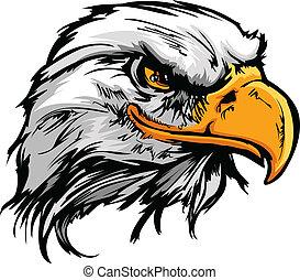 grafisch, hoofd van, een, kale adelaar, mascotte, vector,...