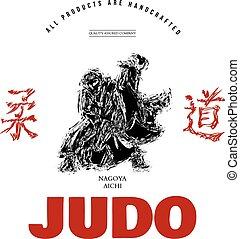grafisch, judo, t-shirt, vector, afdrukken, sportende