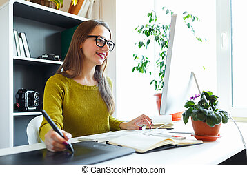 grafisch, kantoor, tablet, kunstenaar, iets, thuis, tekening