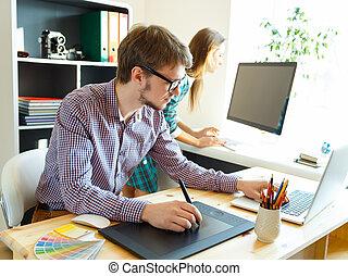 grafisch, kantoor, tablet, kunstenaar, jonge, iets, tekening
