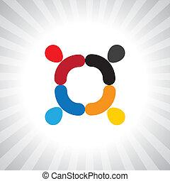 grafisch, kleurrijke, eenvoudig, abstract, vector, meeting-, team, werknemers
