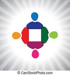grafisch, kleurrijke, eenvoudig, bedrijf, vector, meeting-, team, stafmedewerkers