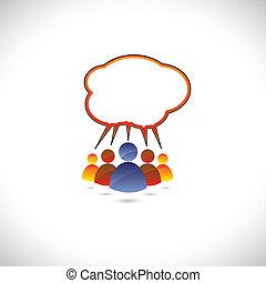 grafisch, kleurrijke, klesten, mensen, kletsende, communicating.