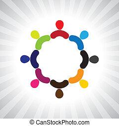 grafisch, kleurrijke, mensen, eenvoudig, gemeenschap, vector, circle-