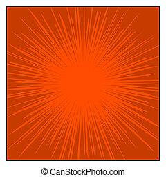 grafisch, komieken, lijnen, effects., kleur, vector, radiaal...