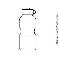 grafisch, levensstijl, gezond water, vector, fles, icon.