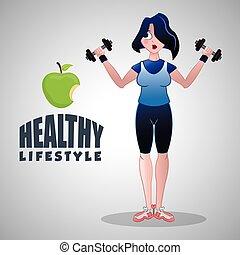 grafisch, levensstijl, illustratie, gezonde , vrijstaand,...