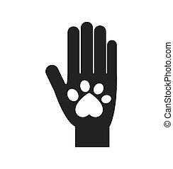 grafisch, liefde, aanhalen, hand, voet, vector, dierlijke druk, icon.