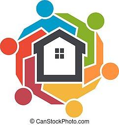 grafisch, mensen, group., realtors, vector, ontwerp, logo, origineel, vereniging, design.