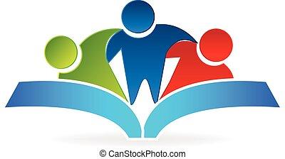 grafisch, mensen, vector, logo, omhelzing, boek