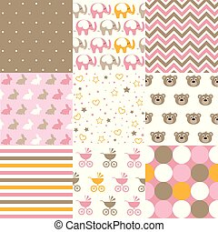 grafisch, model, patterns., seamless, vastgesteld ontwerp, vector., baby meisje, communie
