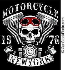 grafisch, motorfiets, ouderwetse , t-shirt