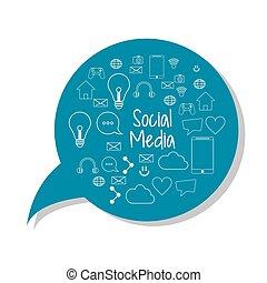grafisch, netwerk, media, set., vector, sociaal, bel, pictogram