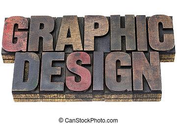grafisch ontwerp, in, grunge, hout, type