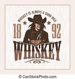 grafisch, ouderwetse , -, etiket, t-shirt, whisky, meisje
